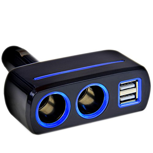 VORCOOL Dual USB Auto Ladegerät mit Doppel Zigarettenanzünder (schwarz)