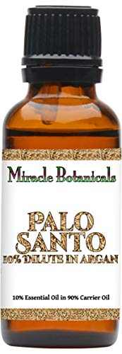 Miracle Botanicals Wildcrafted Palo Santo Essential Oil 10% Dilute in Argan - Therapeutic Grade Bursera Graveolens (10%) in Virgin Organic Argan (90%) - 30ml
