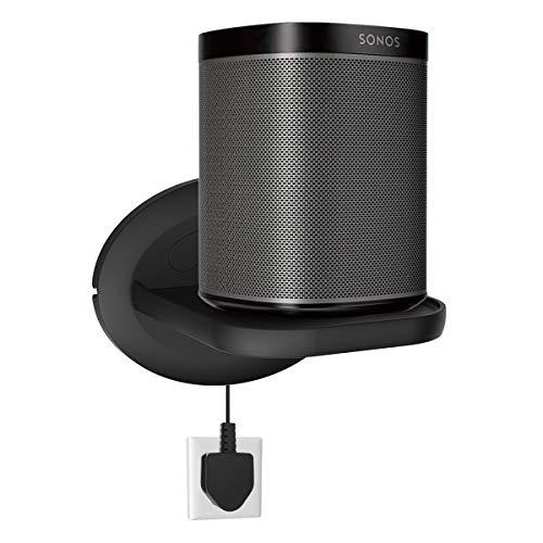 Sonos Speaker Wall Mount Shelf Holder for Sonos One (Gen 2)- Google Nest Mini , Google Nest WiFi - Adjustments for Best Audio , Hold up to 15 lbs - Black