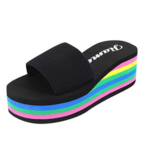 Damen Badelatschen Pantoffeln Plateauschuhe Plattform Badeschuhe Duschschuhe Wedge Beach Schuhe High Heel Bade Sandalen, Schwarz, 37.5 EU