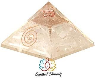 Spiritual Elementz Reiki Charged Selenite Orgone Pyramid (3'Inch) with Clear Crystal Gemstone Copper Metal/EMF Protection Meditation Yoga Energy Generator