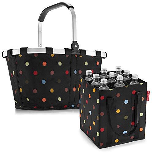 reisenthel Set Carrybag Plus farblich passender bottlebag Einkaufskorb Einkaufstasche (dots)