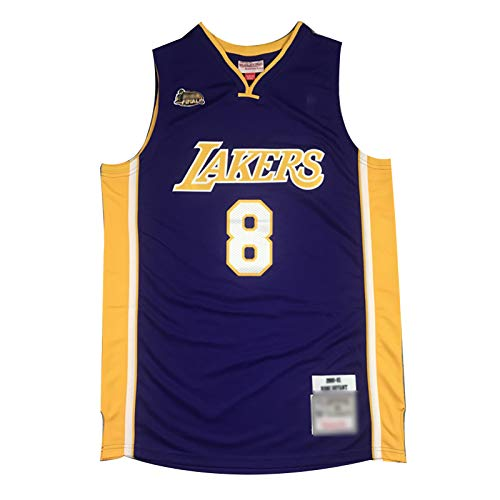 Lakers # 8 Kobe Bryant Finals Logo Basketball Jerseys, Camiseta De Sworkman Swingman Cómoda Transpirable para Hombre (S-2XL) Purple-XL