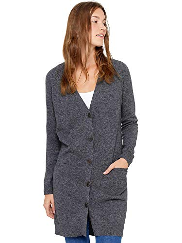 State Cashmere Women#039s Button Front Cardigan 100% Pure Cashmere V Neck Fashion Sweater Dress with Pockets Medium Charcoal