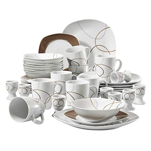 VEWEET Geschirrservice 'Nikita' aus Porzellan 40 teilig | für 8 Personen | Frühstückservice mit je 8 Eierbecher, Kaffeebecher 350 ml, Müslischalen, Dessertteller und Flachteller