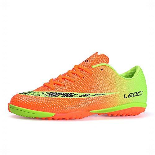 LEOCI Performance Turf Fußballschuhe – Herren und Jungen Fußballschuhe Indoor Soccer Cleat, Orange (Orange), 45 EU