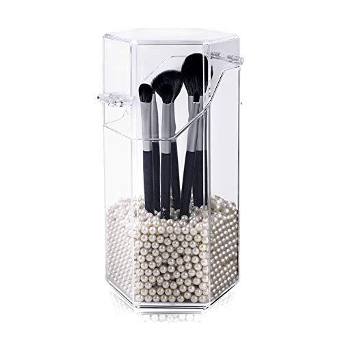 Organiseur de maquillage, support de pinceaux de maquillage en acrylique avec cosmétiques pot de pinceaux de maquillage avec couvercle pour salle de bain, chambre à coucher,(perle blanche)