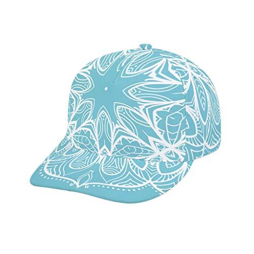O2ECH-8 Teenager blauwe mandala baseballpet - wit vrije tijd sneldrogend bal hoed