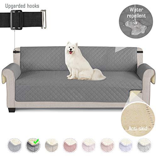 TAOCOCO Sofabezüge wasserdichte Sofa Überwürfe mit elastischen Riemen Anti-Rutsch-Schaum für das Wohnzimmer Schutz für Hunde Vor Haustieren, Verschütten, Abnutzung und Riss schützen (Grau, 4 Sitzer)