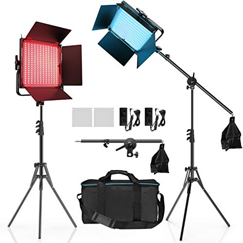 IVISII 2 Pack RGB LED Photography Lighting Kit with Stand Boom Arm, Full Color Output Dimmable 2600K-10000K Video Light, 9 Applicable Scenes CRI97+ Studio Lights Panel for Video, Recording, YouTube