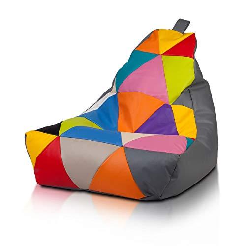 Ecopuf Keiko S Poltrona Sacco Patchwork Design - Pouf Imbottito in Ecopelle, Doppia Cerniera - 70x75Cm