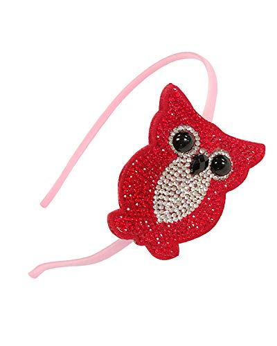 Bowbear Girls Womens Crystal Party Headband, Red Owl