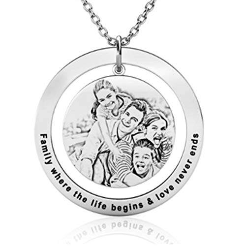 Smileface Personalised Silver Picture Necklace Customised Photo Circle Pandant Necklaces for Men Women Girls Charm Jewelry Picture and Engraving Text Keepsake Present Chain of 18 inches