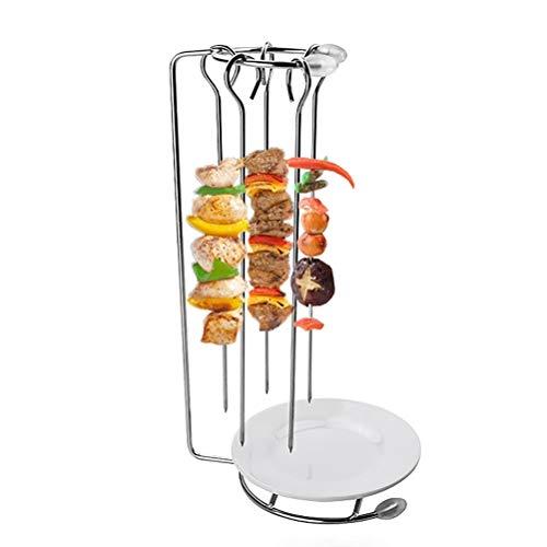 Vssictor Grillspießgestell zum Grillen von Shish Kabob und Spießen,Robuste Grillspieße aus Edelstahl mit Grillhalter und Halter für Kochutensilien für Ausflüge
