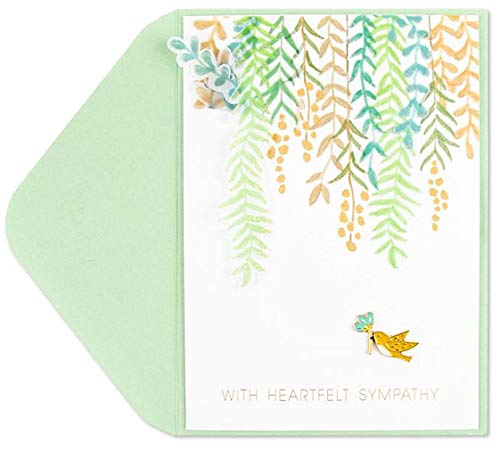 Papyrus Sympathy Card Little Bird Dove And Leaves, 1 Each