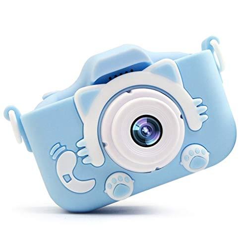 Cámara Digital Cámara de Video instantánea Año Nuevo Juguete de 600 mAh (Cámara Azul + Funda de Goma Rosa)