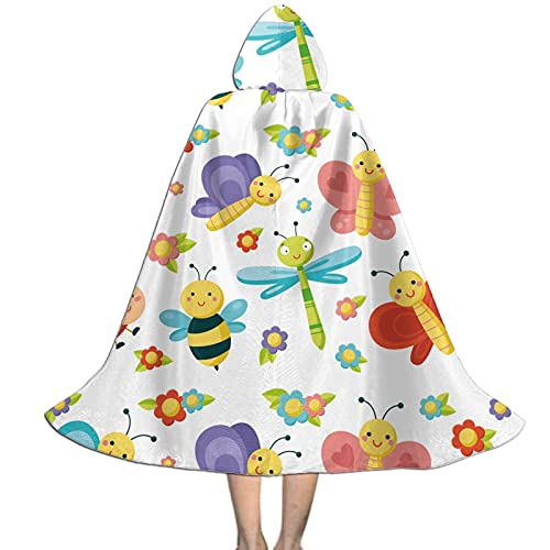 Cute Dragonfly And Bee Critters Kids Hooded Cloak Cape For Halloween Party Role Play Cosplay Costume For Kids Boys Girls