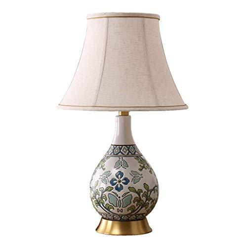Lámpara de Mesa de cerámica Lámpara de Escritorio de Flores en Colores Pastel con Relieve clásico Luz de cabecera de Dormitorio de Estilo Pastoral Americano