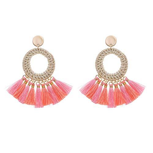 Treend24 Dames Boho oorbellen kwast oorbellen roségoud ibiza bohomenia steker hippie (roze)