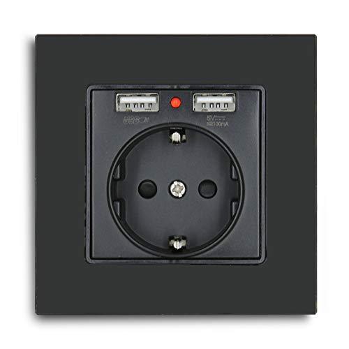 BSEED 2xUSB Schuko steckdose,Glas Panel Schuko Wandsteckdose 1 Fach,250 V Steckdose mit USB (Max. 2.1A) Ladegeräten Schwarz,Geeignet für Smartphone,Tablet und MP3