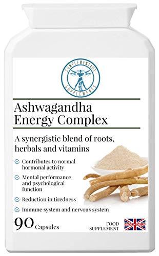 Complementary Supplements | Ashwagandha Energy Complex | Immune System Support | Adaptogenic Adrenal Formula | Astralagus | Gotu Kola | Maca Root | + Vitamin B Complex | Vegan | 90 Capsules