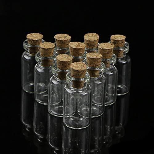 bibididi 10 Piezas Mini Frasco de Botella de Deseo de Vidrio con tapón de Corcho Colgante de Almacenamiento 0,5/1/2 / 20Ml, Almacenamiento de Botella Vertical