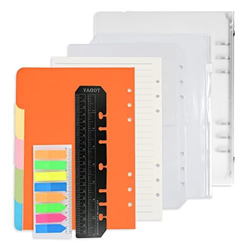 Juego de papel de recarga A5 Juego de accesorios para cuadernos A5, Set de hojas sueltas con 6 agujeros, 5 Tarjeta de partición de color, 135 hojas de papel de recambio con pestañas adhesivas