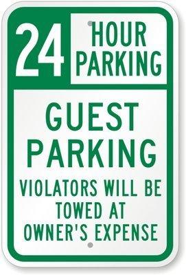 qidushop lustiges Dekoschild Schilder 24Stunde Parking Gast Einparkhilfe Zuwiderhandlungen Werden geschleppt auf Kosten Metall Inhaber Zeichen für gardern Garage Einfahrt Schild 30x 45cm