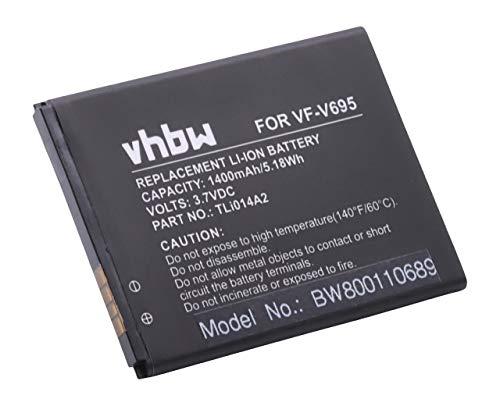 vhbw Li-Ion batería 1400mAh (3.7V) para teléfono móvil Smartphone teléfono Vodafone Smart...
