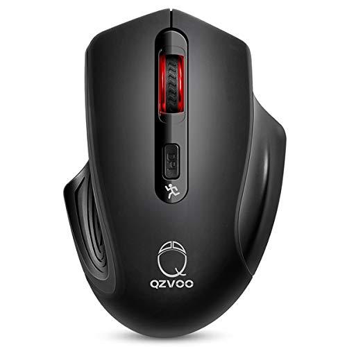 QZVOO Funkmaus PC Maus Kabellos Computermaus Kabellos Wireless Mouse 2.4G Funkmaus für Laptop Funk Maus USB Drahtlos ohne klickgeräusche lautlose PC Microsoft Computer schnurlose Mouse (Black)