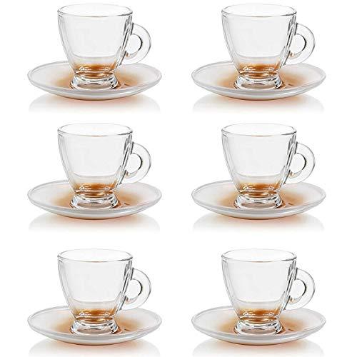 Espressotassen Set Mokka-Tassen Espresso-Gläser mit Unterteller für Kaffee und Espresso, 12-teilig, Füllmenge: 95ml
