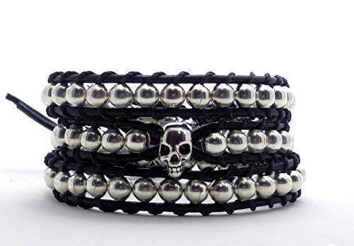 Armband mit Silbernen Totenkopf Wickelarmband Silber Perlen Schmuck Unisex