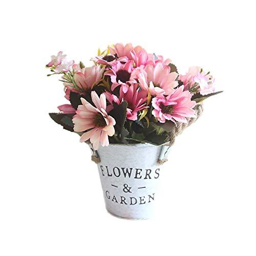 Chytaii Künstliche Blumen Gerbera im Topf Kunstblumen mit Eiseneimer Kunstpflanzen Plastik Blumen deko für Balkon Garten Tischdeko Hochzeit Zuhause Dekoration, Rosa