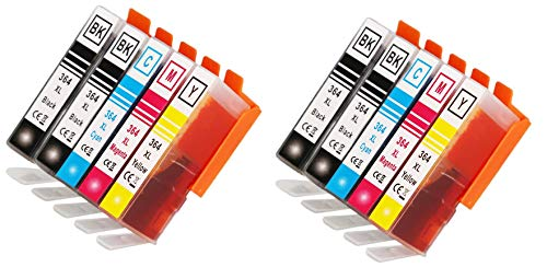 10 X Cartuchos de Tinta Compatibles HP 364 XL para HP Deskject 3520, 3070A Photosmart 5510 5520 5524 7510 7520 6510 6520 5515 b110a b109a Officejet 4620 (4 Negros, 2 Cian, 2 magenta, 2 amarillo.