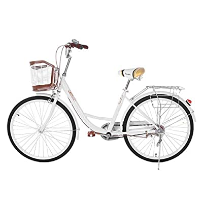 PUTEARDAT Beach Cruiser Bike 26in Classic Bicycle Retro Bicycle with Comfortable Seats and Baskets & Back Seats Womens Bike (White)