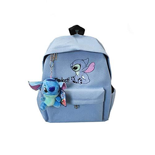 BACKPPSuper fire school bag college wind cartoon cute girl mochila mochila de lona para estudiantes @ Pink (preste atención a la tienda para enviar el colgante de Stitch)