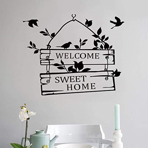 WYYAF Wandaufkleber Willkommensvogel Englisch pastoralen Stil Wohnzimmer Schlafzimmer Wandaufkleber