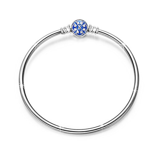 NinaQueen 7.5 Inches 925 Sterling Silver Bangle Bracelet with Blue Snap Clasp, Fits Pandora Charms**Ideal Gift for Her**