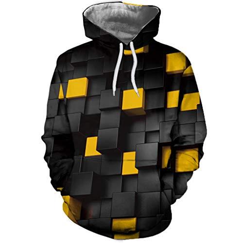 Qmber Paare Abstrakte lustige Pullover Herren 3D Druck Geometric Square Print Hoodie Herbst Frühlingsmode Langarm Sweatershirt Tops/Gelb,4XL