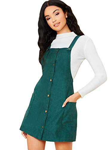 Floerns Women's Corduroy Button Down Pinafore Overall Dress with Pockets Green M