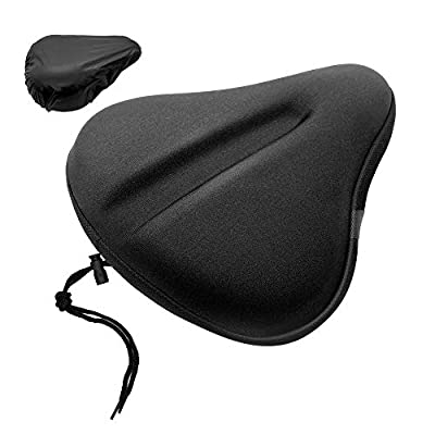 Royor Wide Bike Seat Cushion Cover, Gel Bike seat Covers for Comfort, Bicycle Saddles Cover fit for Exercise or Outdoor Bikes, with Water&dust Resistant Cover (11'' X 10'' Black)