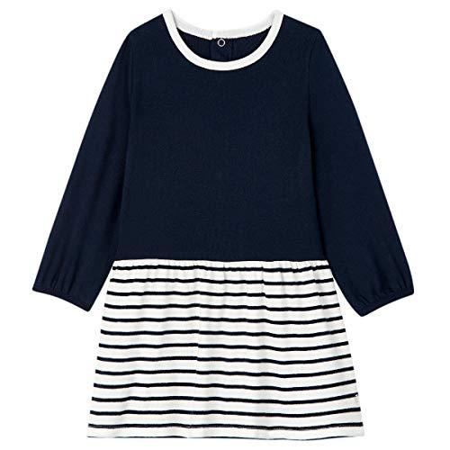 Petit Bateau Kleid, langärmlig, für Babys, Mädchen Gr. 36 Monate, Marshmallow/Smoking