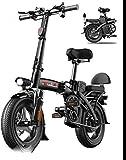 RDJM Bici electrica Bicicletas rápidas y Eléctrica en Adultos Plegables Bicicletas eléctricas con 36V 14 Pulgadas, de Iones de Litio de la batería de la Bici de Ciclo al Aire Libre Trabajar el Cuerpo