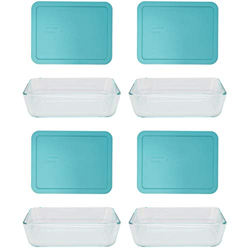 Pyrex (4) 7211 6 Cup Glass Dishes & (4) 7211 6 Cup Rectangle Turquoise Lids