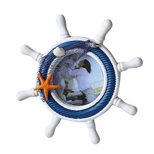Mediterranse stijl, handwerk roeien van houten shell Sea Star fotolijstje stuurwiel decoratie van het huis
