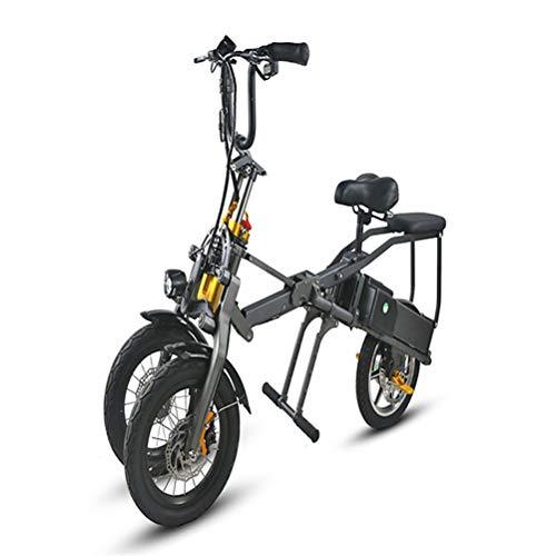 ZHJIUXING HO 14 Zoll dreirädriges elektrisches Dreirad elektrische Fahrräder Erwachsene zusammenklappbares elektrisches Fahrrad 36V Max Reichweite 75KM