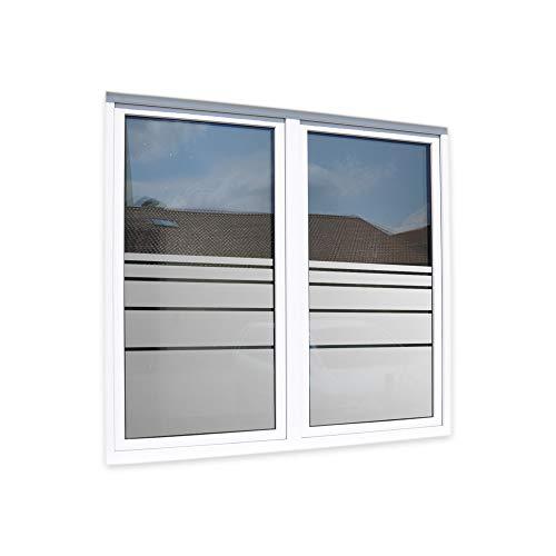 LAVICO|M Sichtschutzfolie Glasdekorfolie Fensterfolie Streifendesign satiniert Blickdicht [Dynamische Streifen]