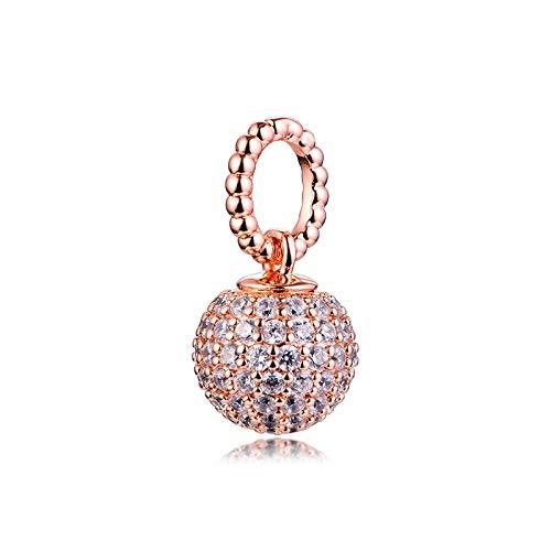 Pandora 925 Charm Silver Beads Charm Cuelga La Pulsera De Ajuste De Las Mujeres Rose Pave Ball Original Para La Fabricación De Joyas Perle Berloques
