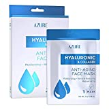 AZURE Hyaluronic & Collagen Anti Aging Sheet Face Mask - Moisturizing & Rejuvenating | Helps Reduce Fine Lines, Wrinkles & Age Spots | Tightens & Smooths Skin | Made in Korea - 5 Pack
