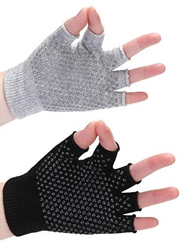 Ytaons Non-Slip Yoga Gloves for Women Grips Yoga Gloves 2 Pairs (Black+Gray)